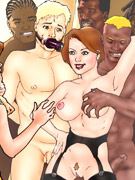 Cartoon busty blonde in white stockings gets her pussy licked by horny black guy outdoors.